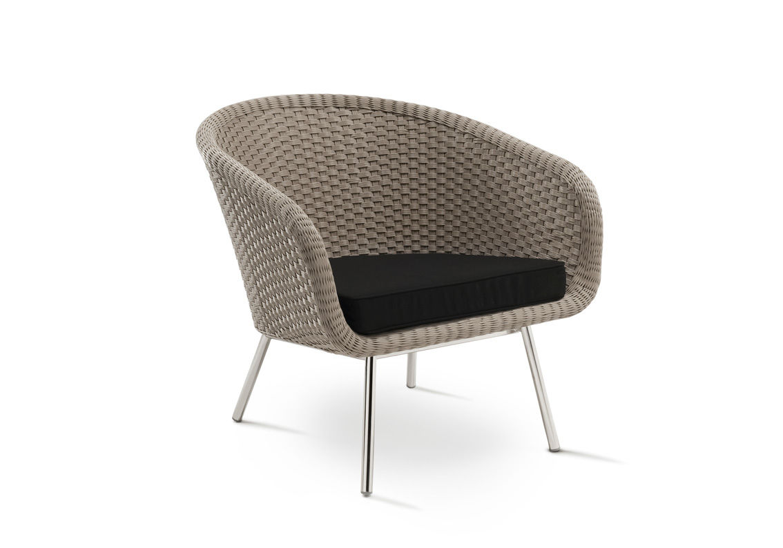 contemporary lounge chair / resin wicker / stainless steel