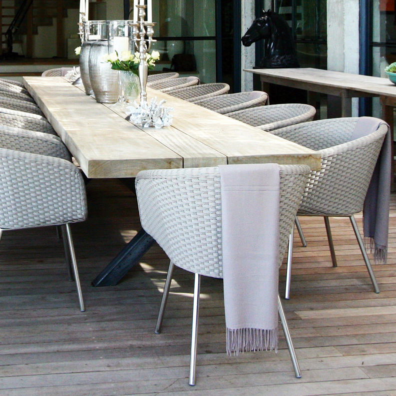 Stainless Steel Outdoor Dining Table Dining Chair Contemporary Resin Wicker Stainless Steel