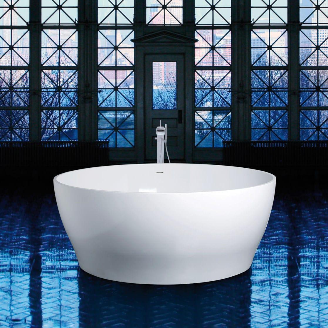 Free-standing bathtub / round / composite - CUP OF TEA - ACQUADESIGN ...