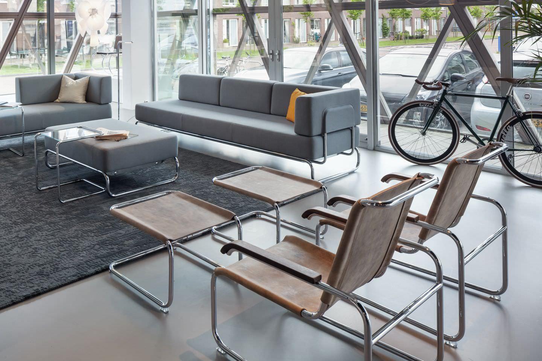... Bauhaus Design Armchair / Wooden / Leather / Steel