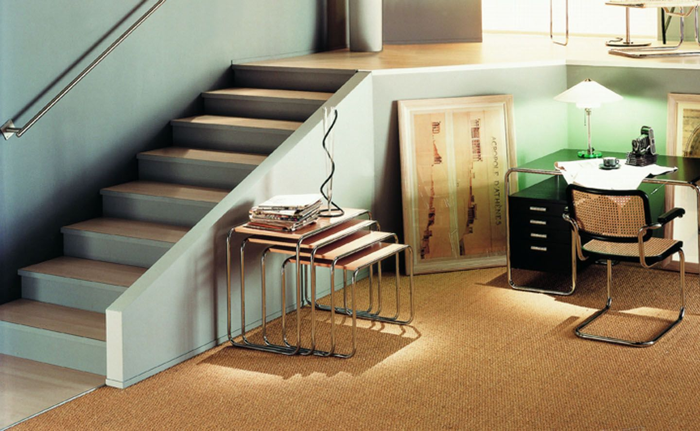 Charming ... Bauhaus Design Nesting Tables / Wooden / Glass / Metal ...