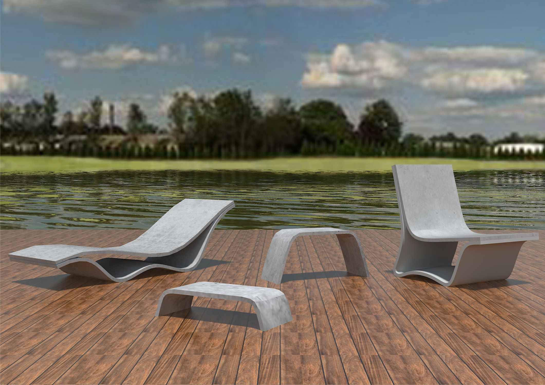 Minimalist Design Chaise Longue / High Performance Concrete / Outdoor / For  Public Areas FLOW