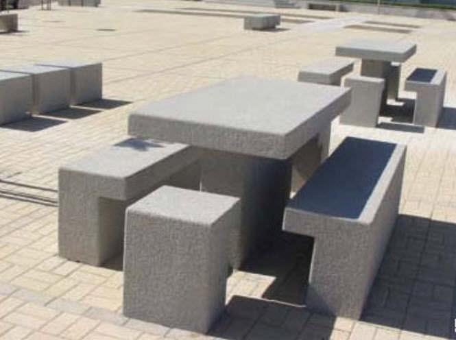 contemporary picnic table / concrete / rectangular / for public