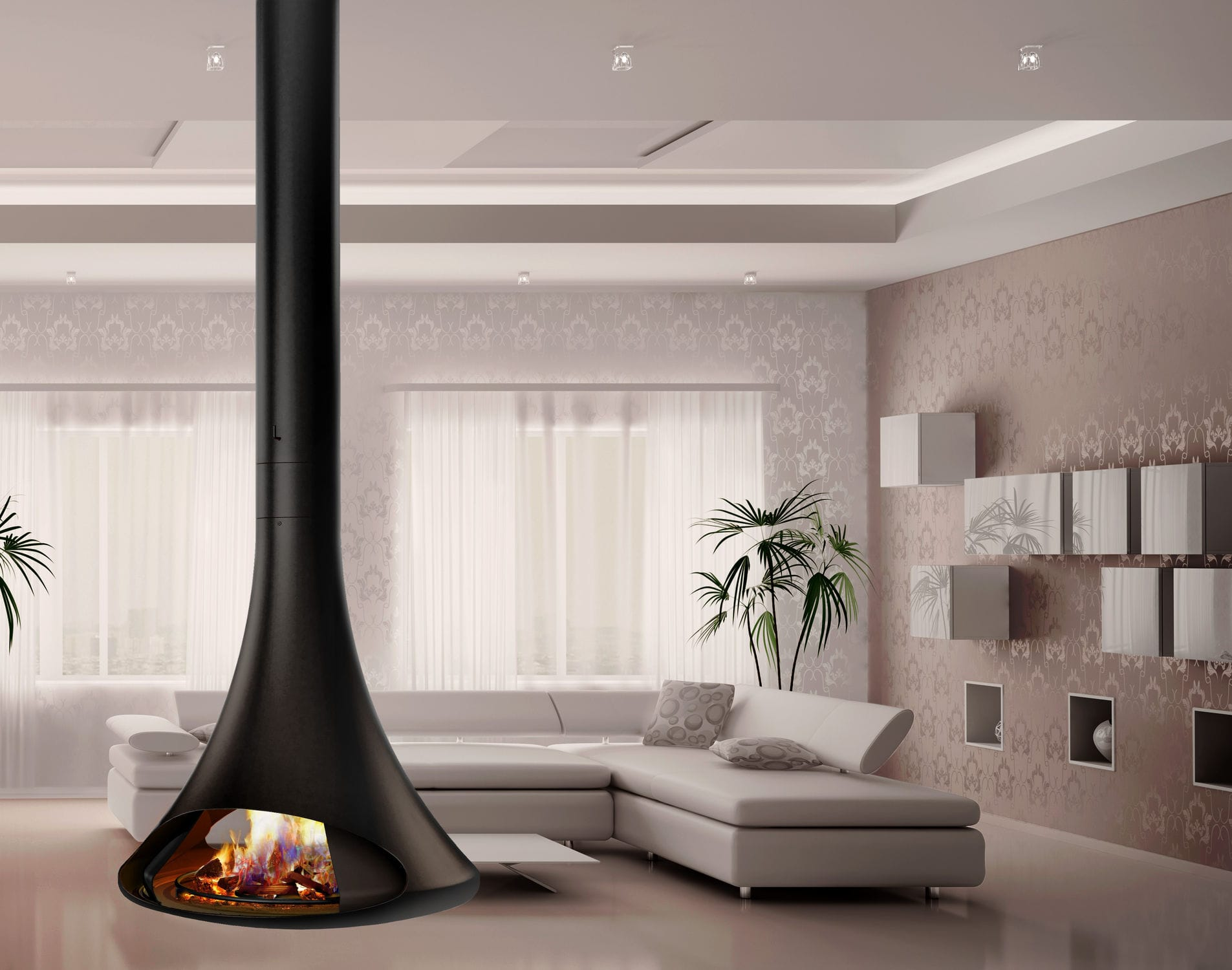 wood burning fireplace contemporary closed hearth central