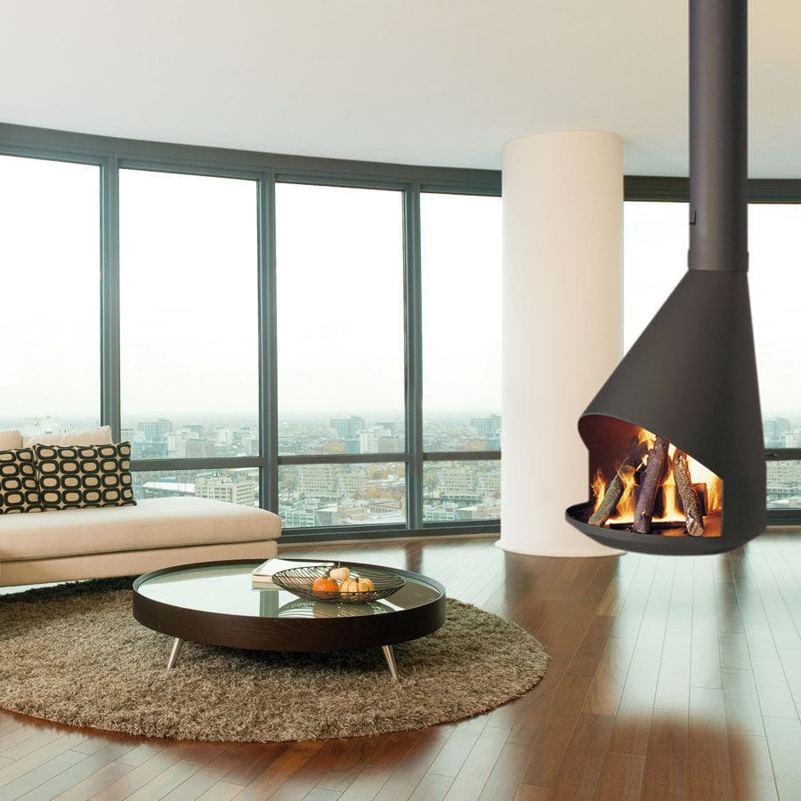 Wood-burning fireplace / contemporary / open hearth / central ...