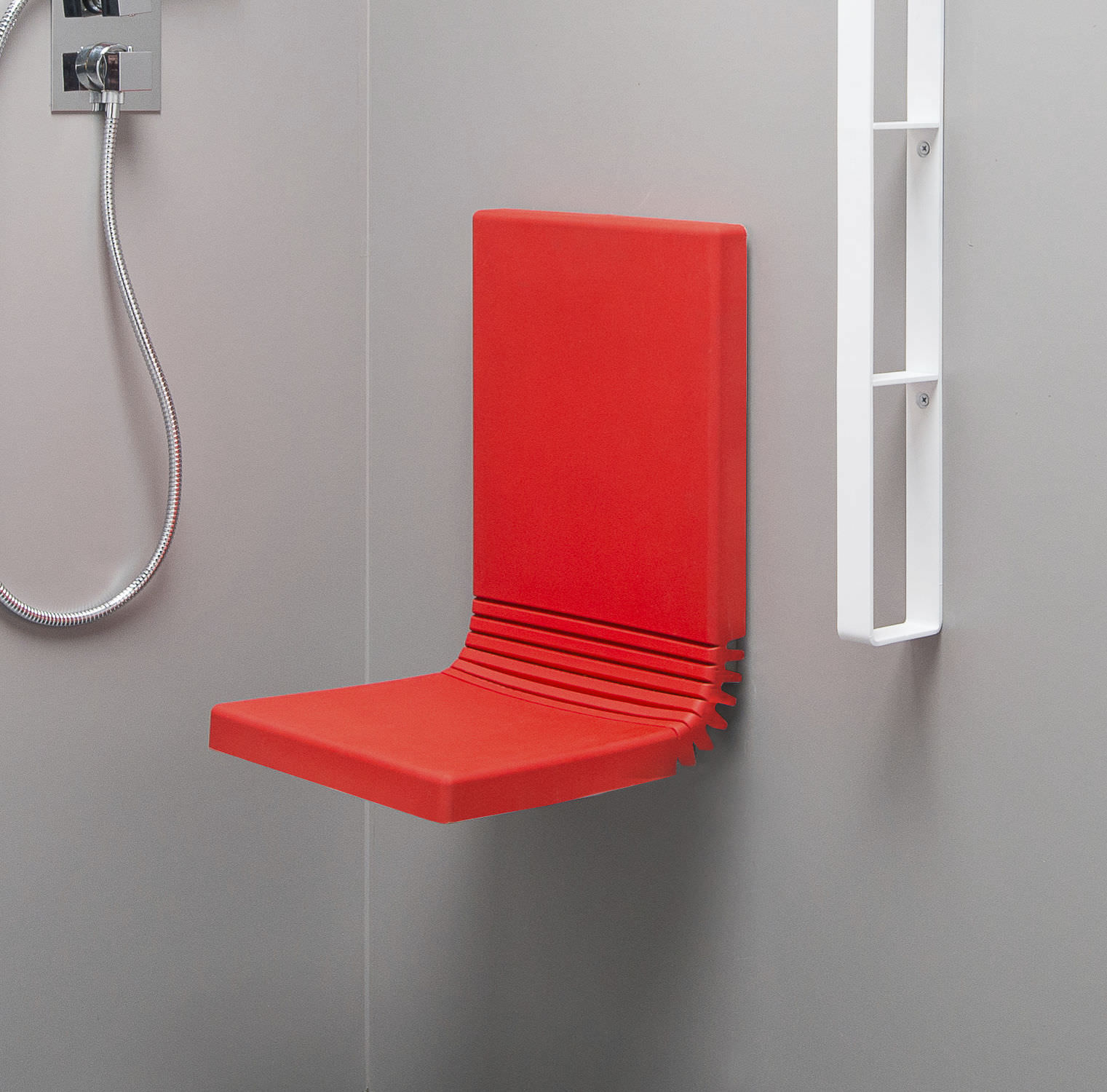 Removable shower seat / wall-mounted / steel / polyurethane - TUCK ...