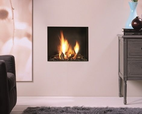 Gas fireplace / contemporary / closed hearth / built-in - TRIMLINE ...