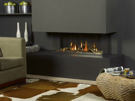 Gas fireplace / contemporary / closed hearth / double-sided ...