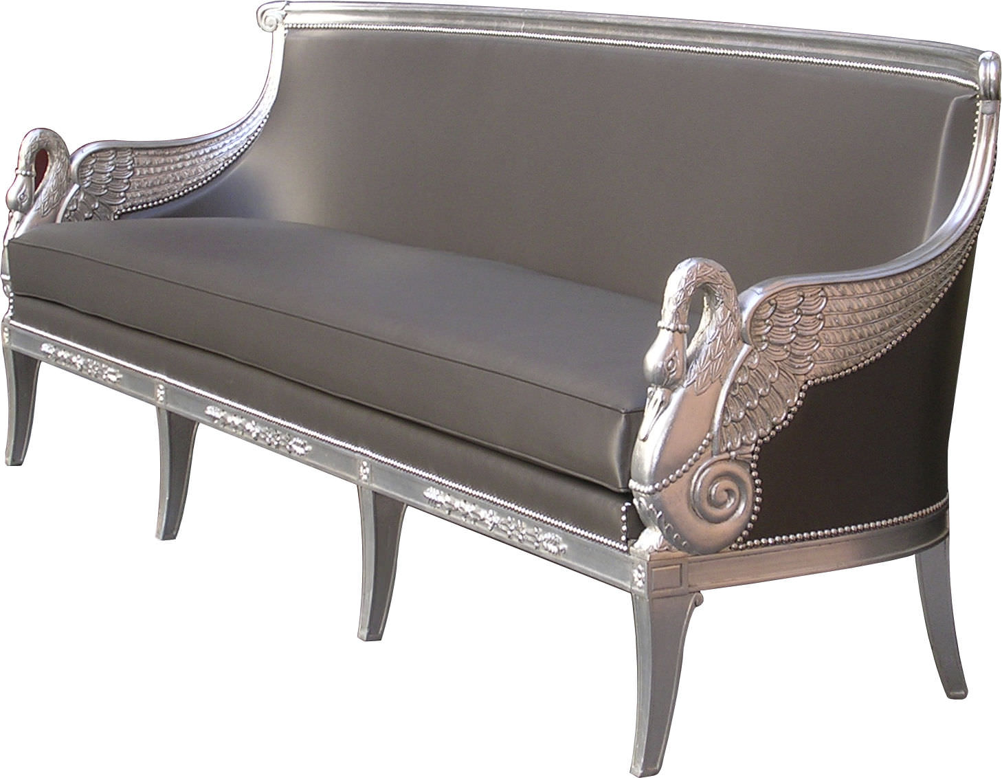 Empire Style Sofa Leather 2 Person Anthracite Cygne