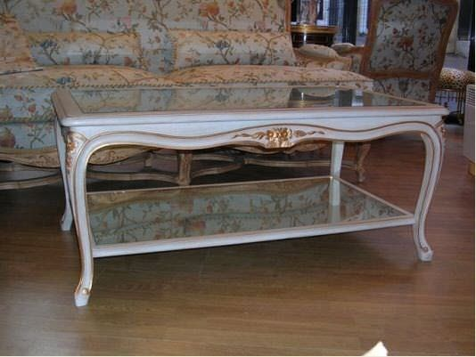 Louis Xv Style Coffee Table Glass Wooden Rectangular Celia