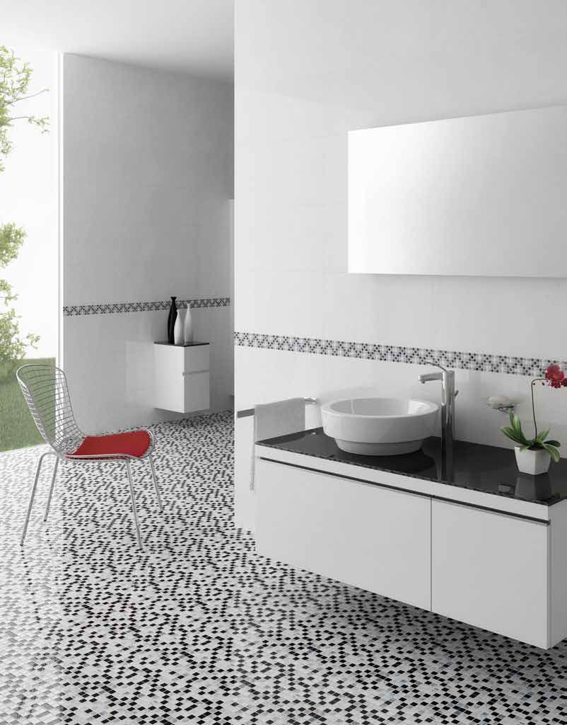 Indoor mosaic tile / bathroom / floor / stone - BLANCHE - Kale
