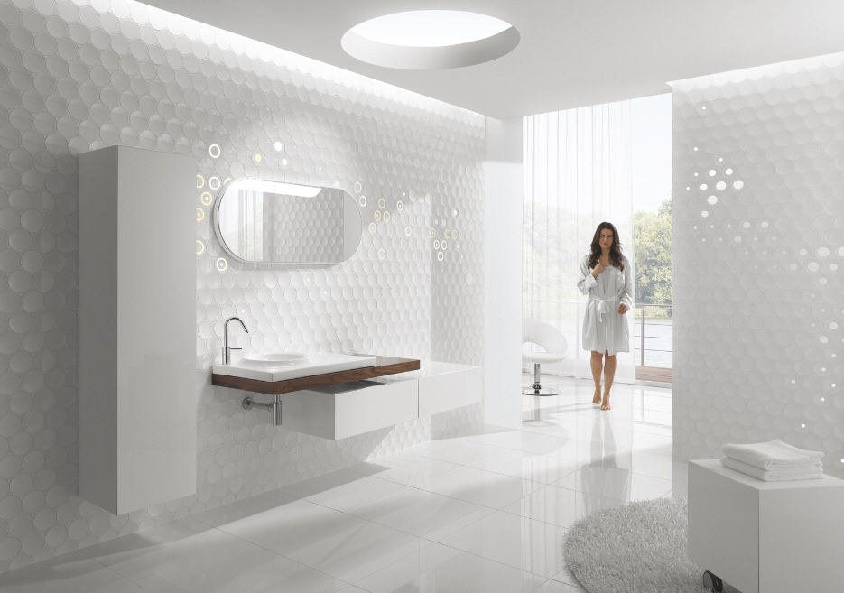 Indoor tile / bathroom / wall / ceramic - DOT - Kale