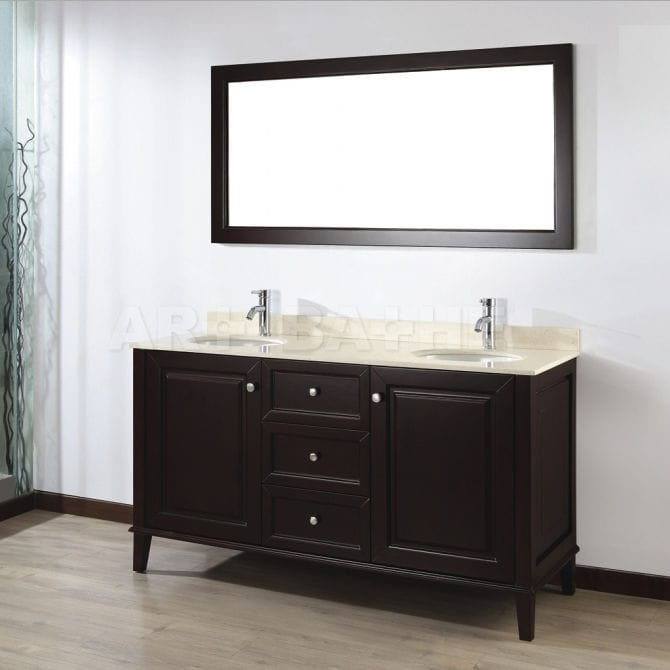 Double Washbasin Cabinet Free Standing Wooden Contemporary Lily 63