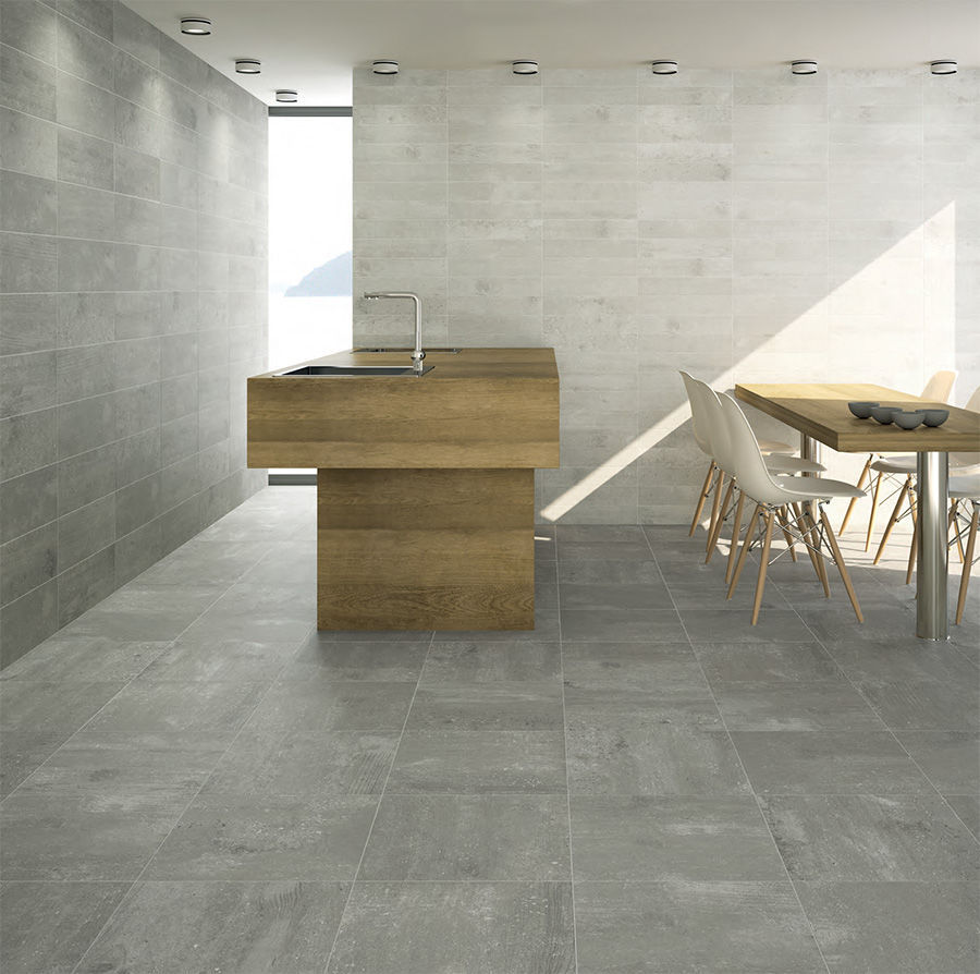 wall tile / floor / porcelain stoneware / plain - concrete