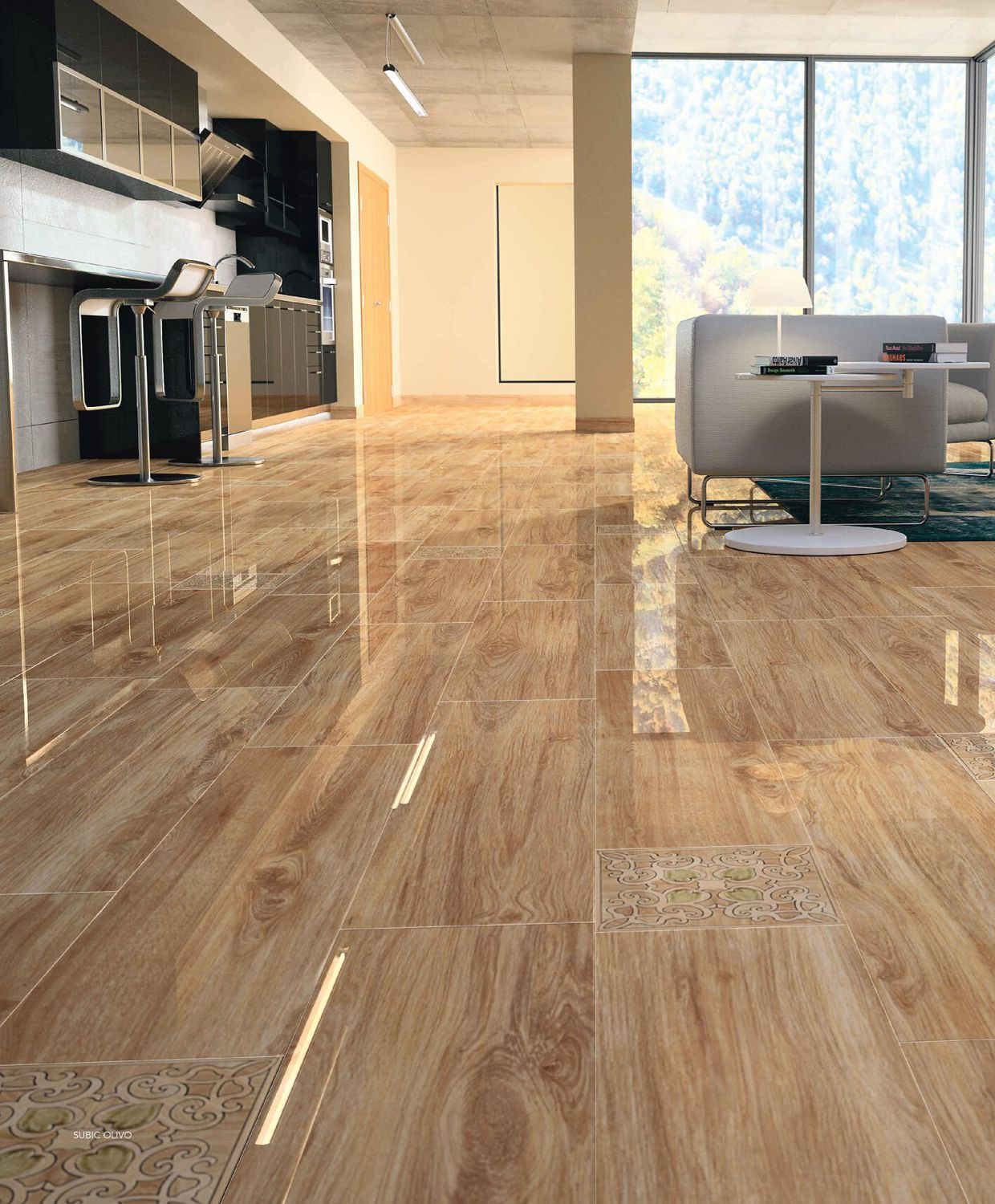 Indoor tile / living room / floor / porcelain stoneware - WOOD ...
