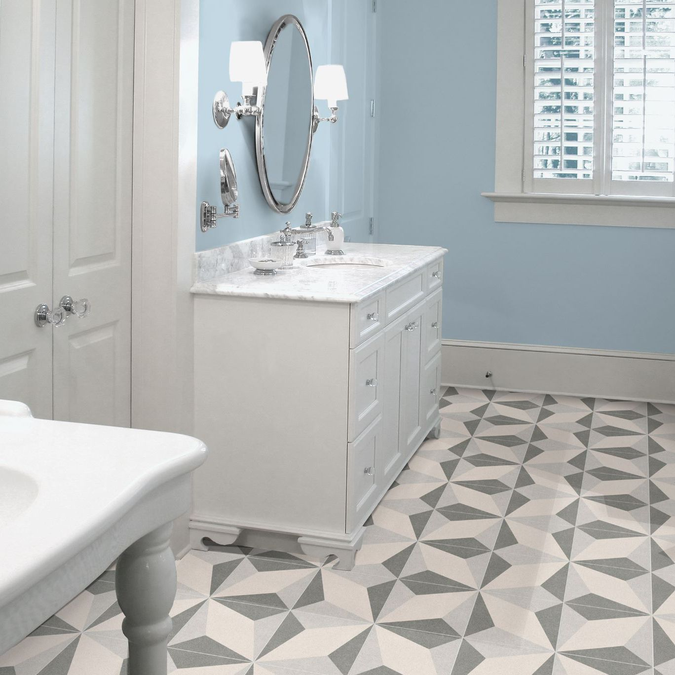 Bathroom tile / floor / porcelain stoneware / patterned - BOREAL ...