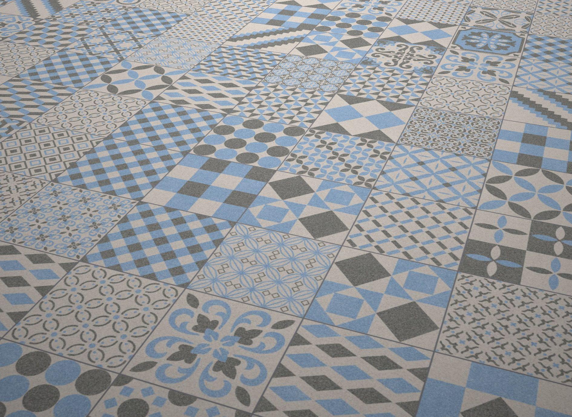 Bathroom tile / floor / porcelain stoneware / patterned - BOREAL ...