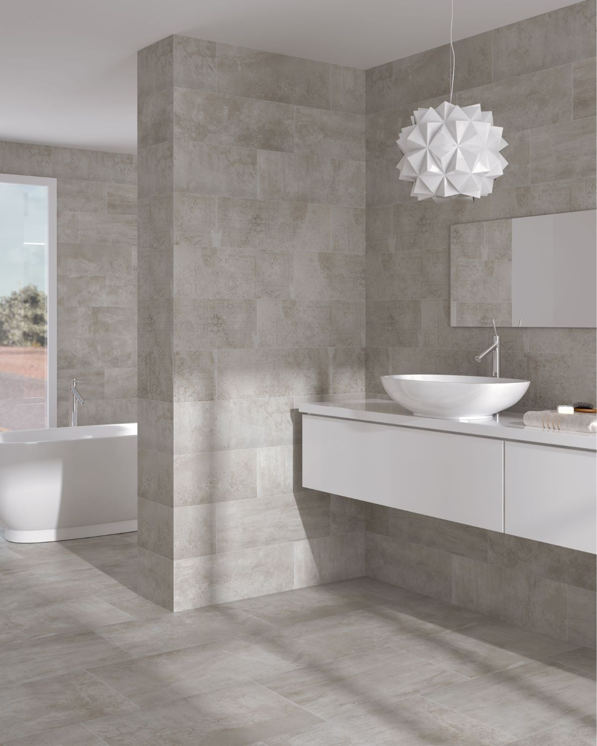 bathroom tile / floor / porcelain stoneware / satin - concrete