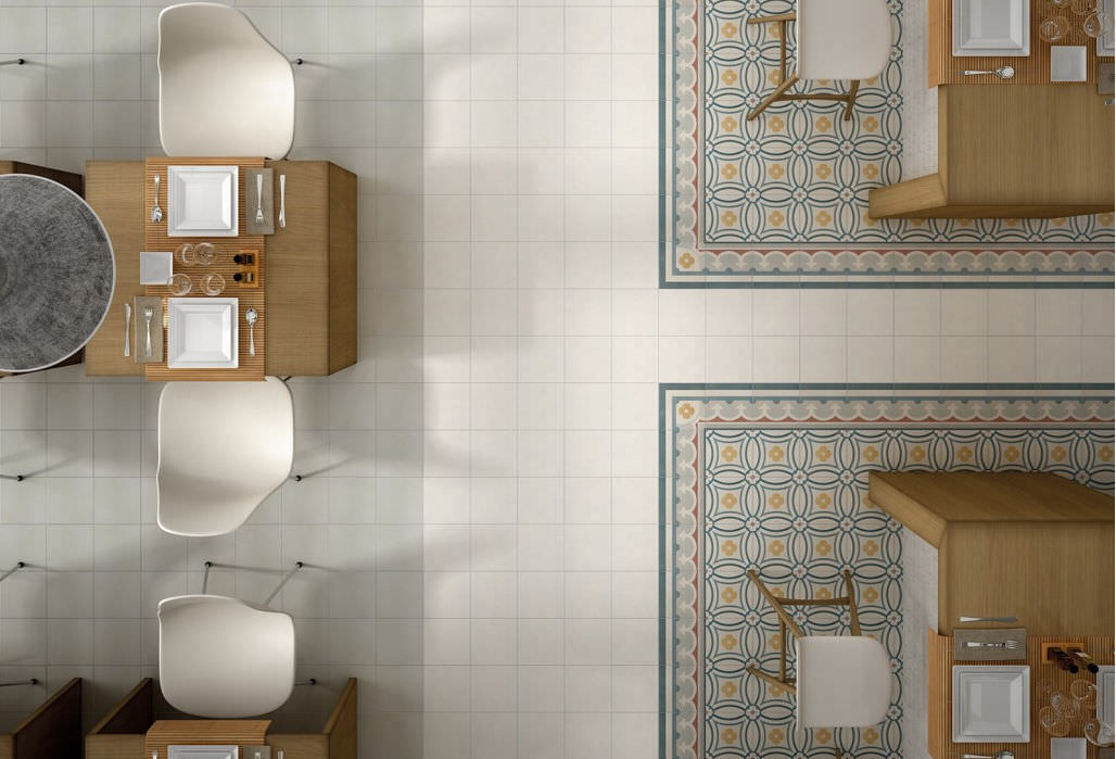 Indoor Mosaic Tile Kitchen Floor Porcelain Stoneware Caprice
