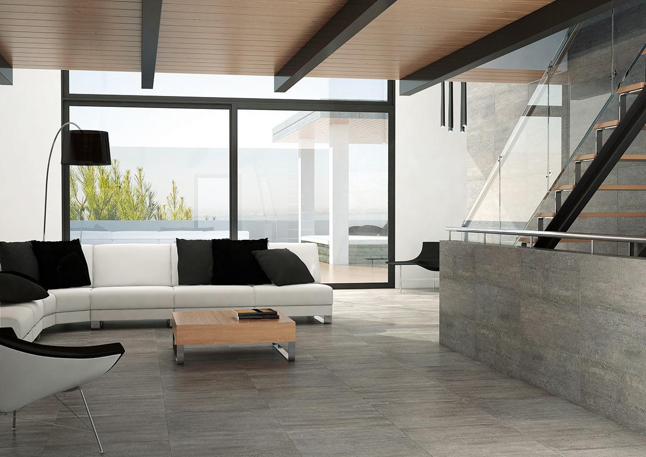 floor tile / porcelain stoneware / matte / concrete look - compact