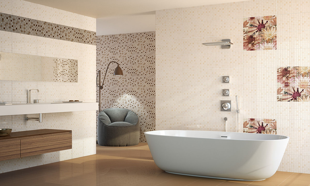 Bathroom mosaic tile / floor / porcelain stoneware / high-gloss ...