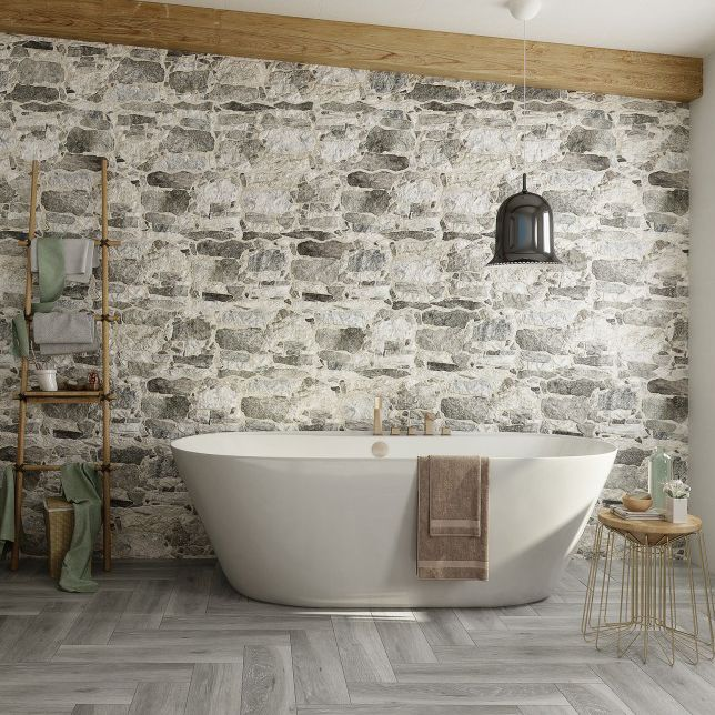 Bathroom tile / wall / ceramic / textured - CADAQUS