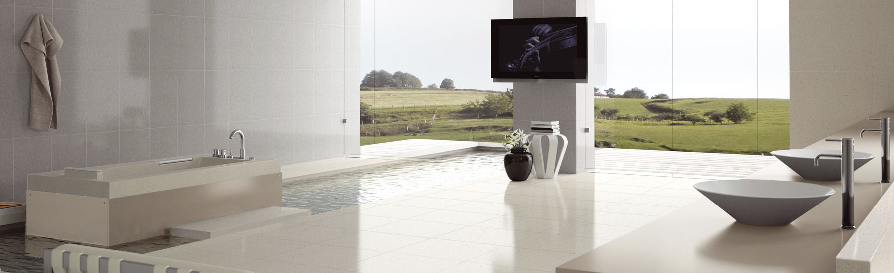 Bathroom tile / floor / marble / plain - BLANCO MICRO - COMPAC The ...