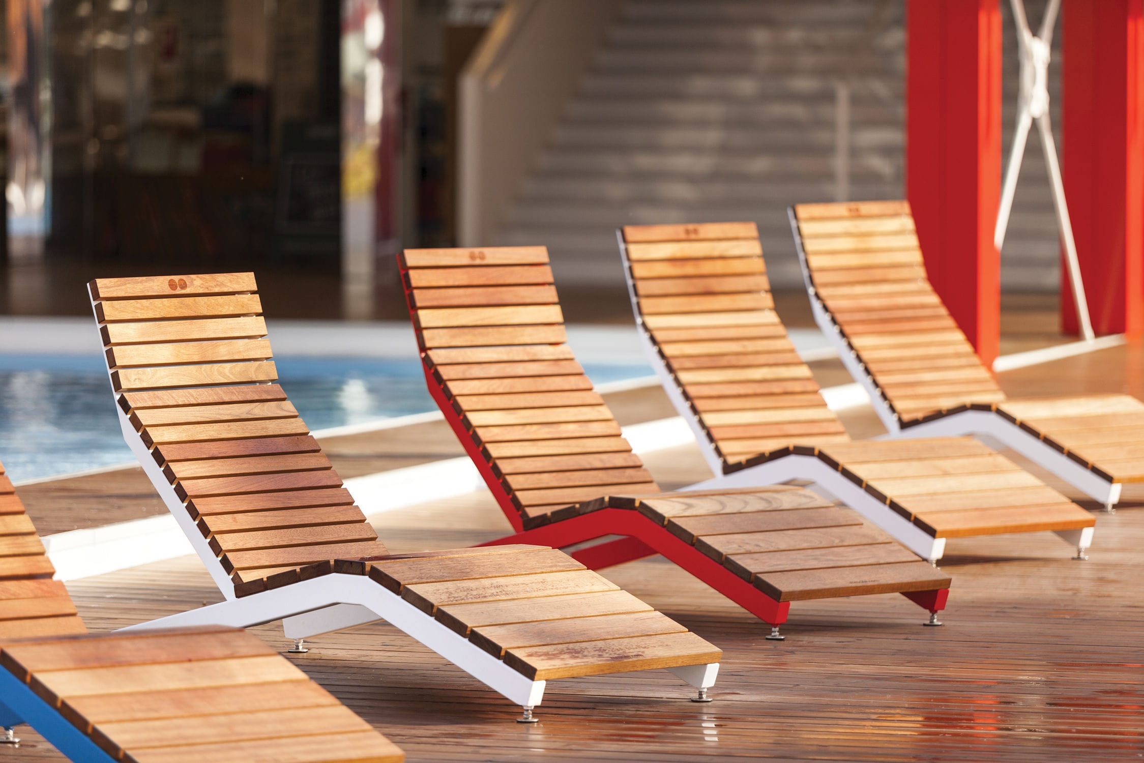 Outdoor wooden lounge chairs -  Contemporary Sun Lounger Wooden Outdoor For Public Areas Rivage By David Kar Sek