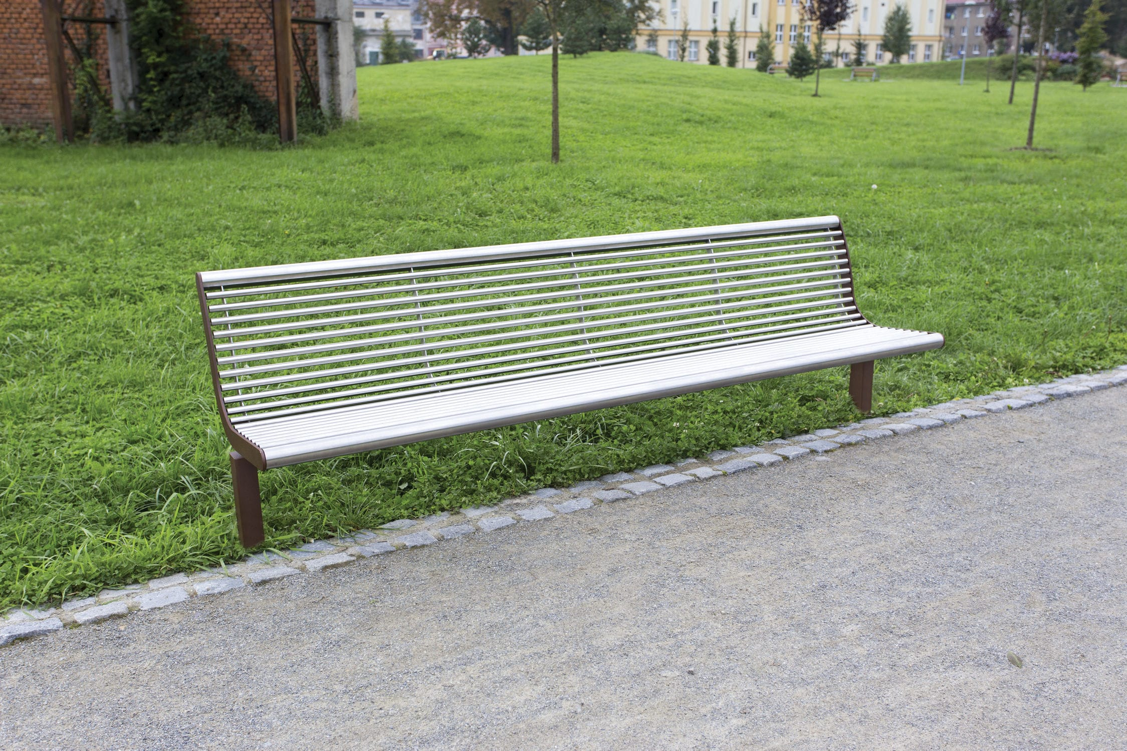 public bench / contemporary / stainless steel / galvanized steel