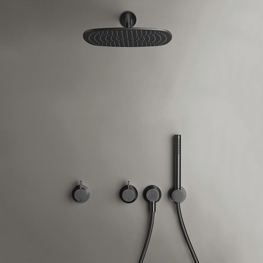 Wall-mounted shower set / contemporary / with hand shower / with ...