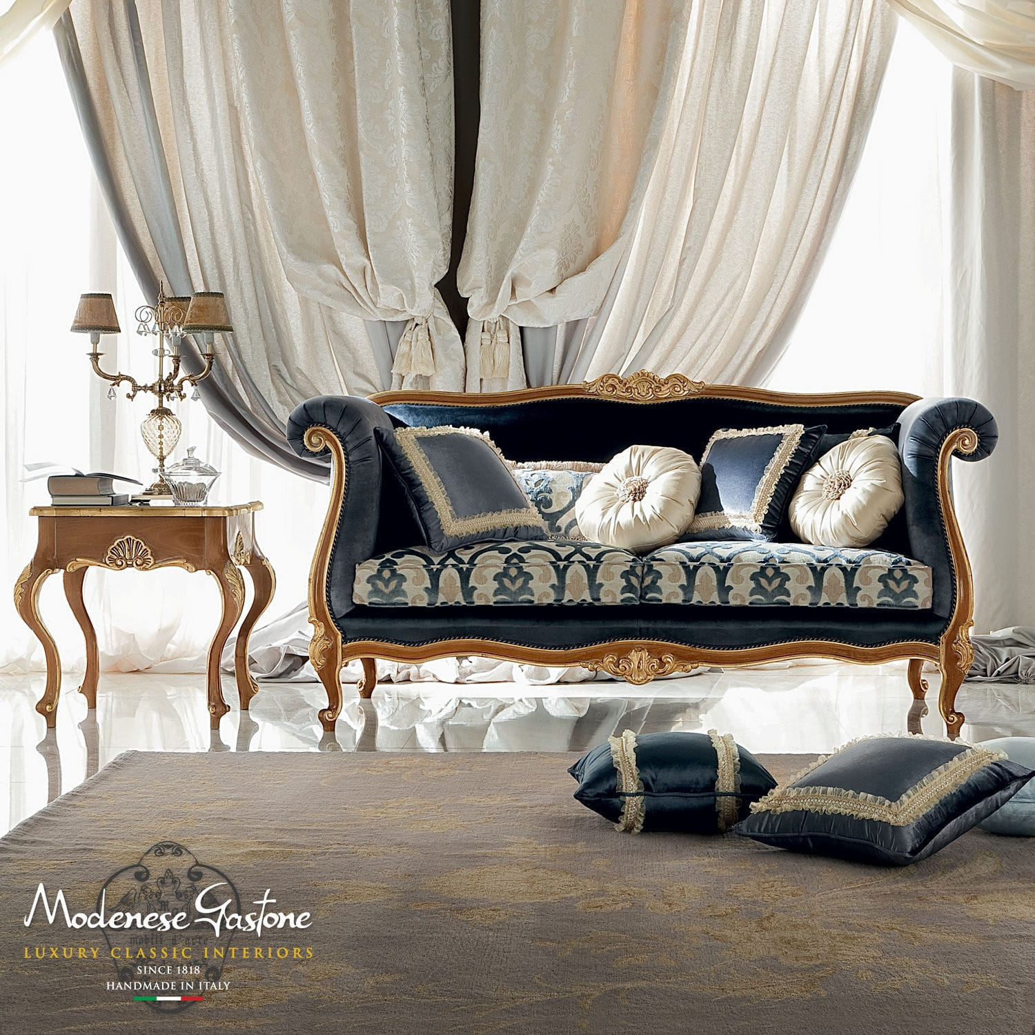 Classic Sofa / Fabric / 2 Seater / Blue   BELLA VITA