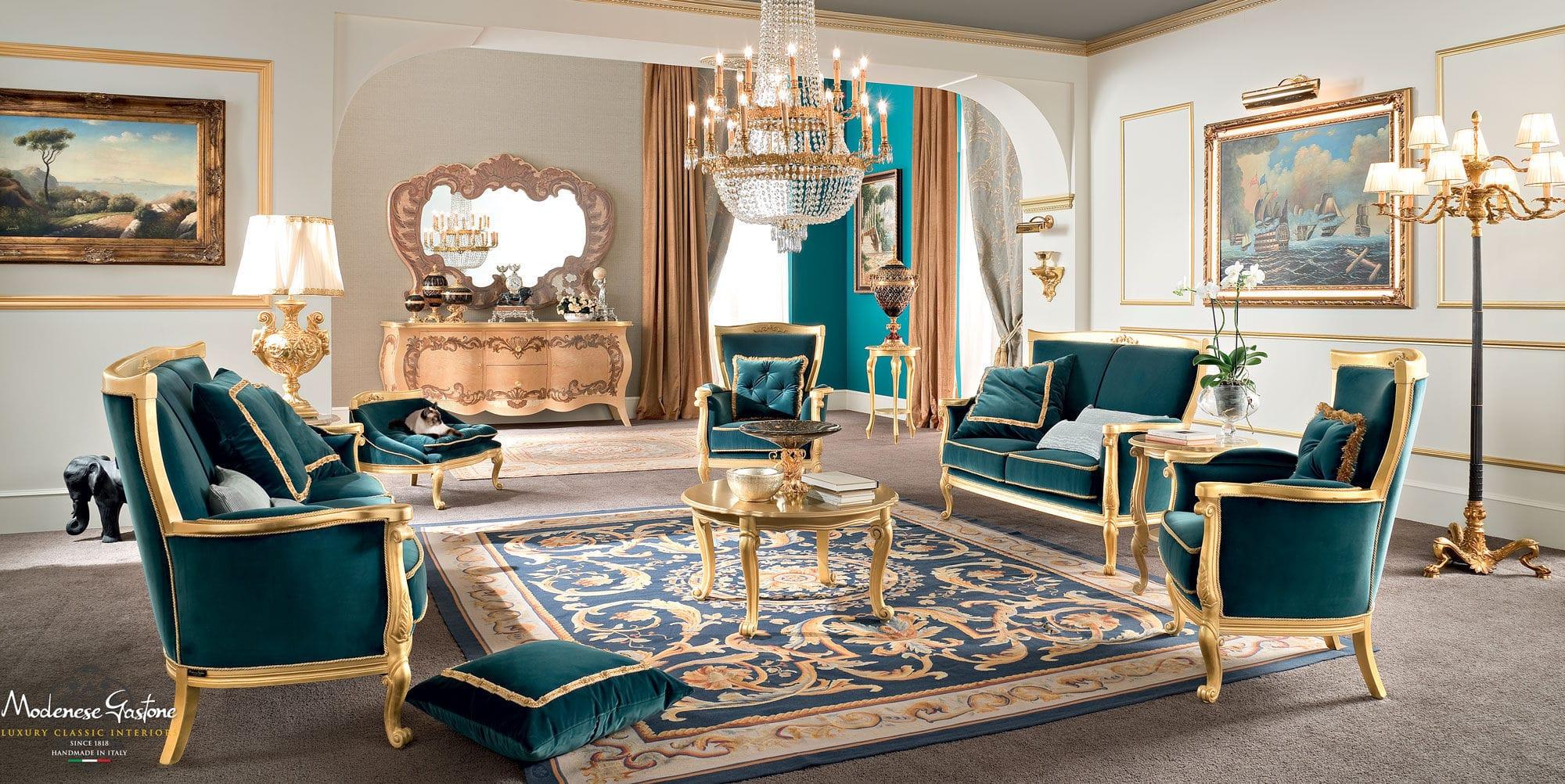 Classic sofa / fabric / 2-person / blue - BELLA VITA - Modenese ...