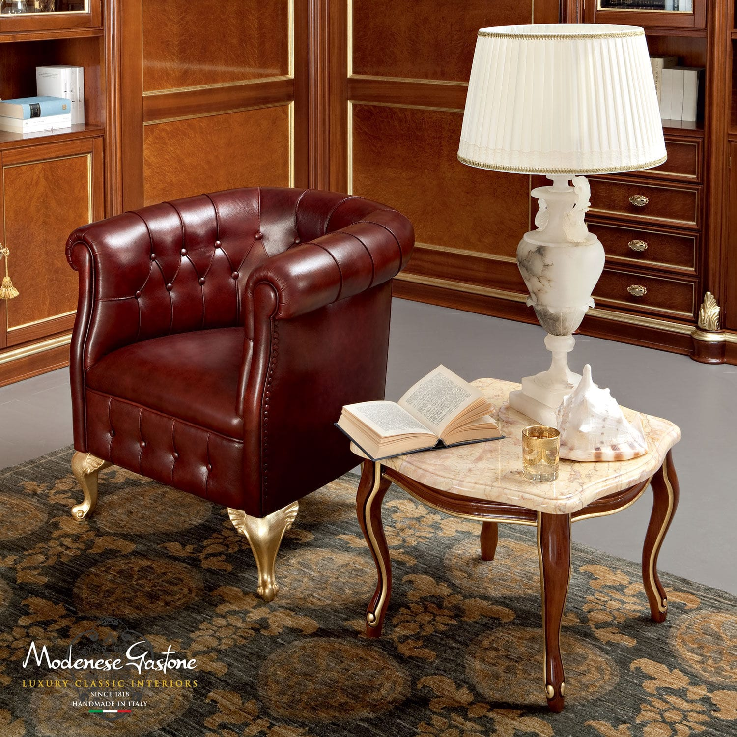 Chesterfield Office Armchair Leather On Casters Swivel Bella Vita