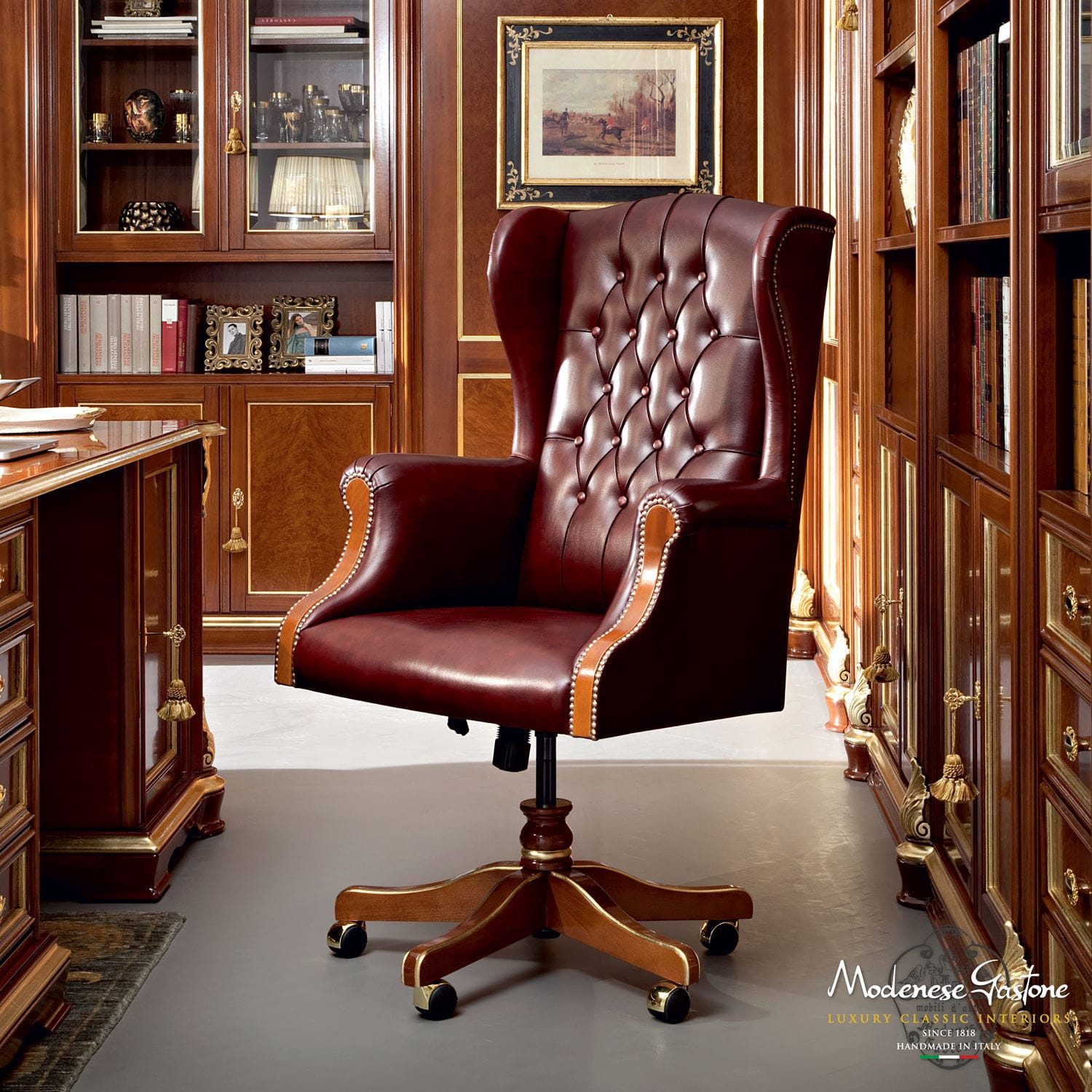 Chesterfield office chair - Chesterfield Office Armchair Leather On Casters Swivel Bella Vita Modenese Gastone Luxury Classic