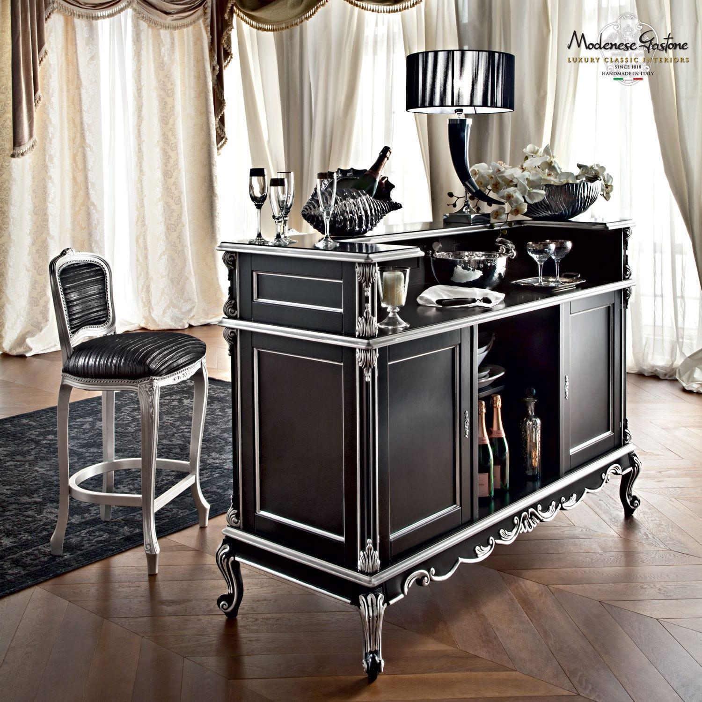 Classic bar cabinet wooden black casanova