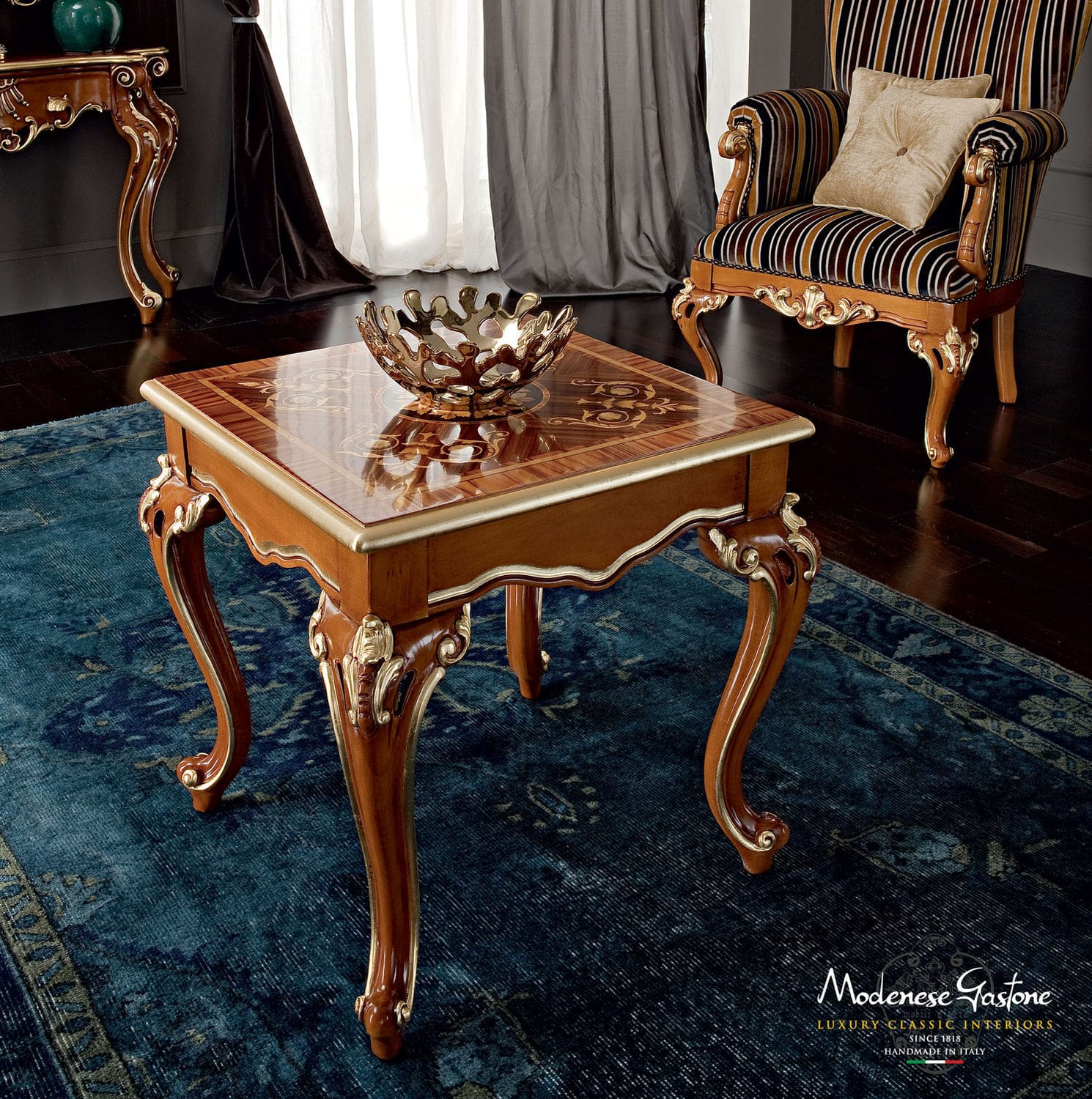 Classic coffee table wooden metal marble CASANOVA
