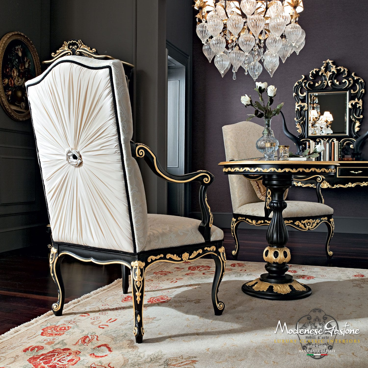 Classic chair upholstered with armrests solid wood