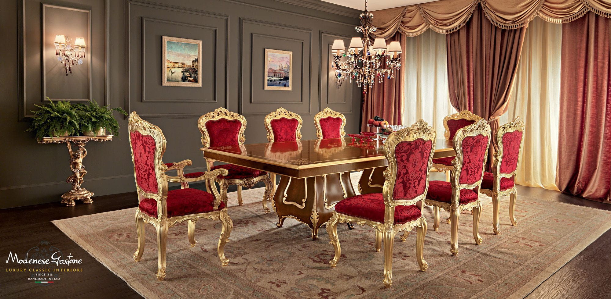 Classic Dining Table Wooden Rectangular Extending VILLA VENEZIA 11118 Modenese Gastone Luxury