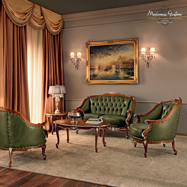 Chesterfield Sofa Wooden 2 Person Green Villa Venezia 11424