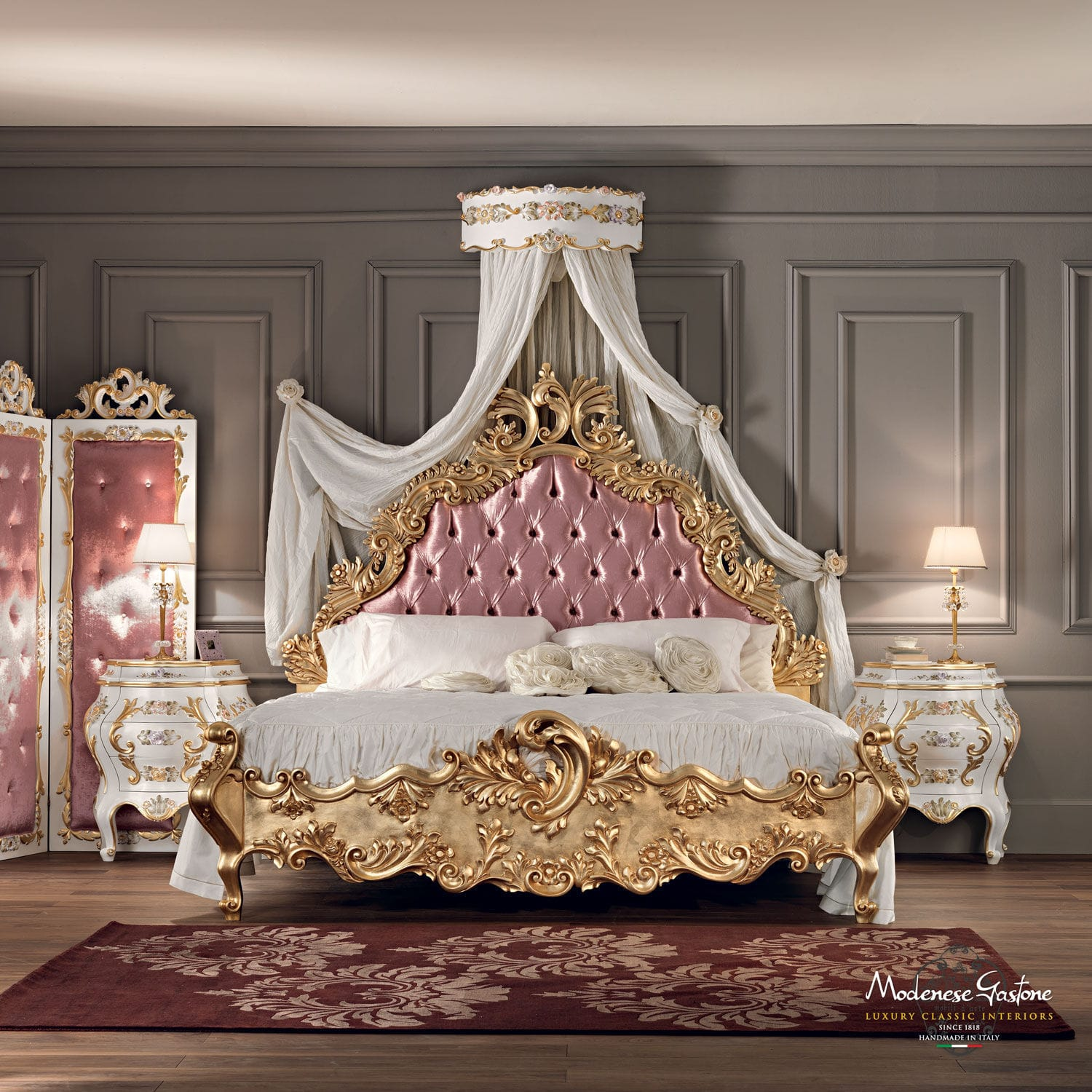 Double bed classic with upholstered headboard solid wood villa venezia