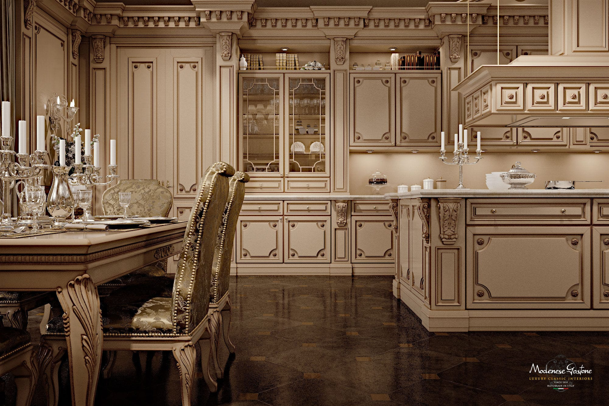 Exceptionnel ... Classic Kitchen / Wooden / Lacquered / With Handles ...