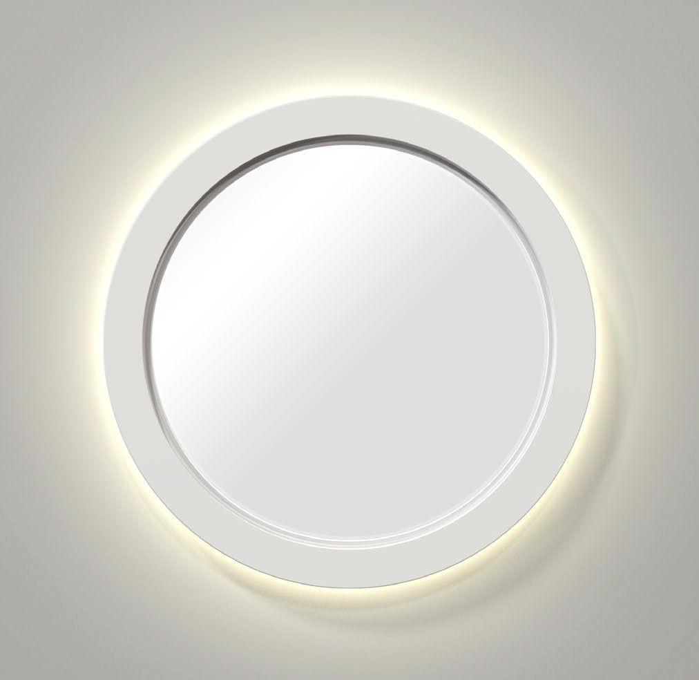 Wall-mounted bathroom mirror / illuminated / contemporary / round ...