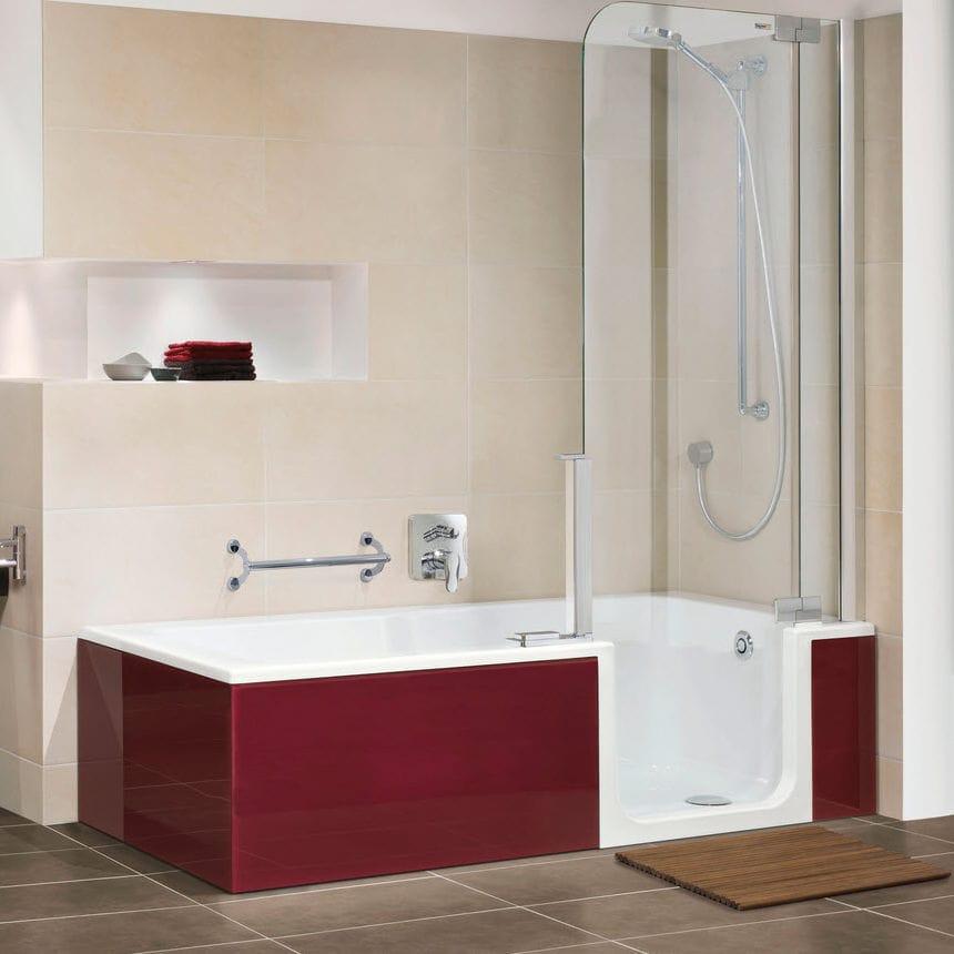 Built-in bathtub-shower combination / rectangular / quartzite ...