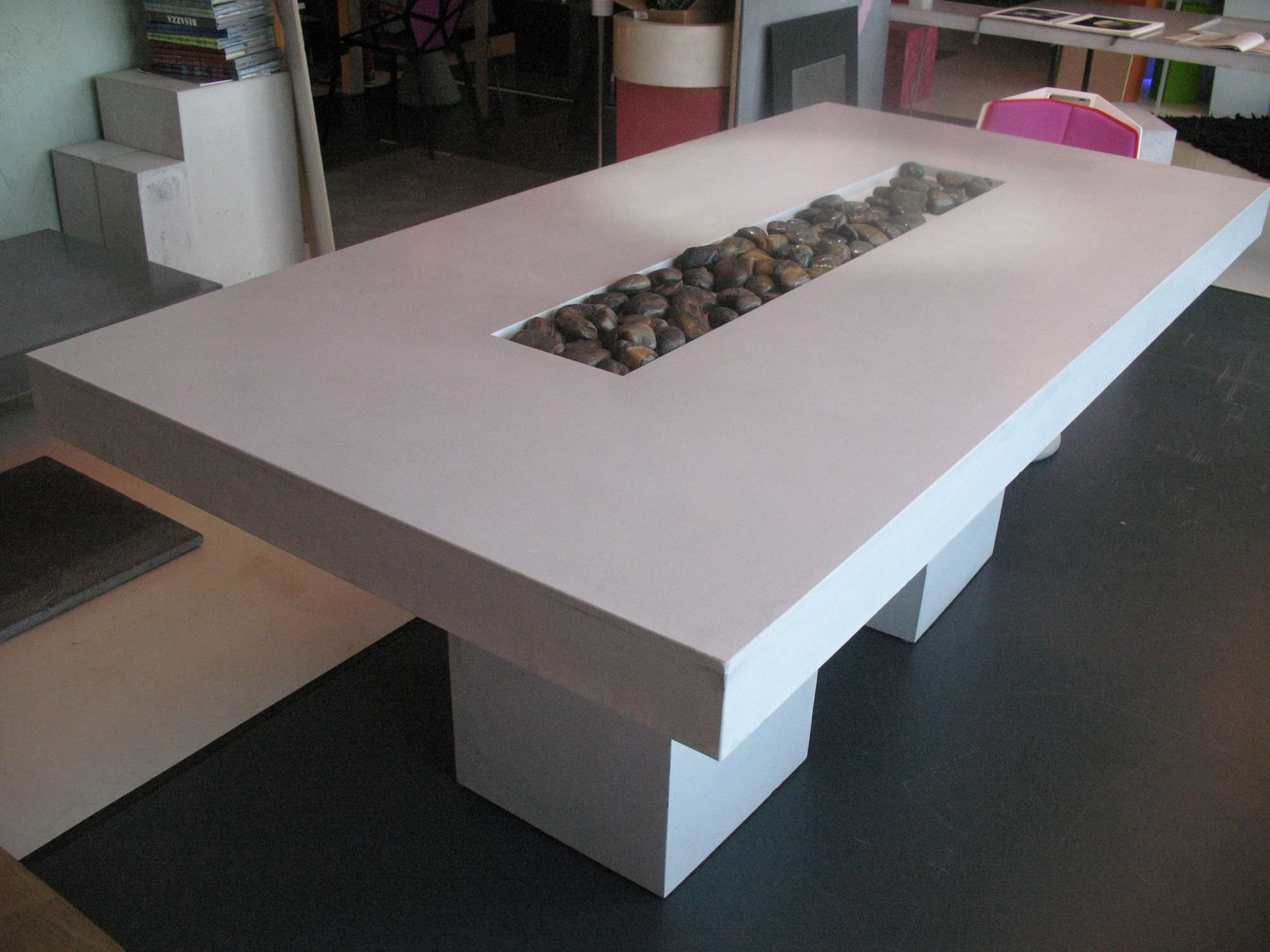 Contemporary table concrete rectangular CUBIK by Studio LCDA