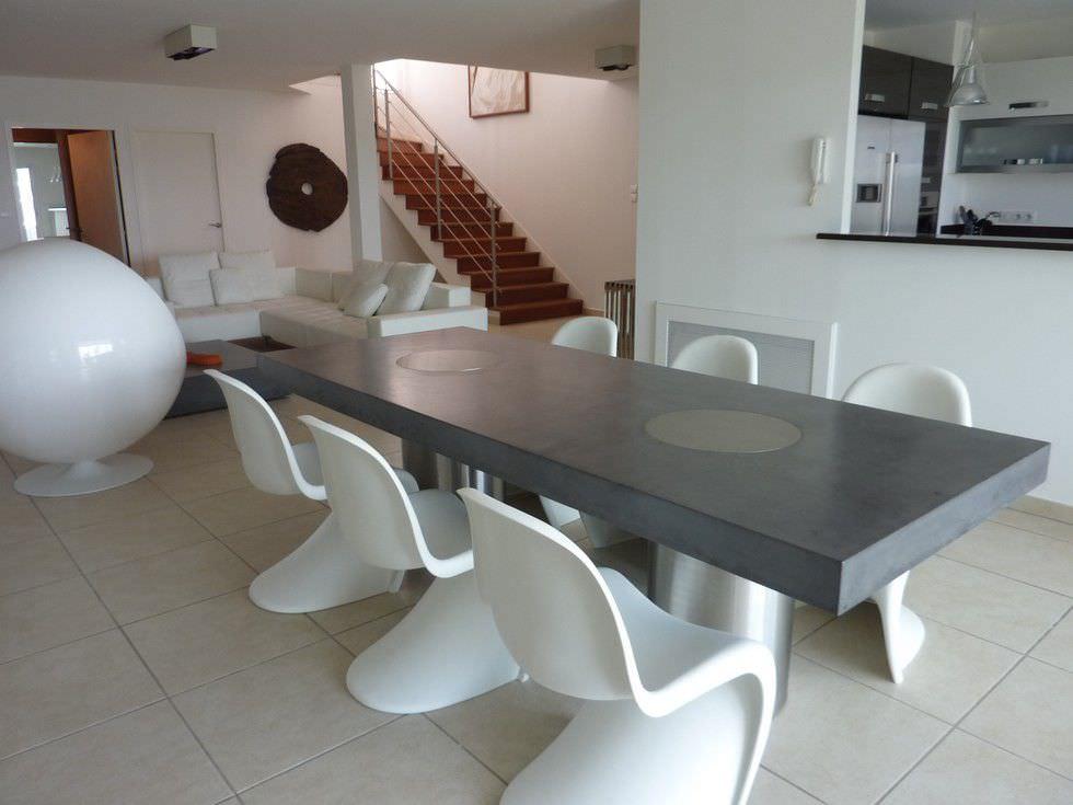 Contemporary table / concrete / rectangular - VULCANI by Studio ...