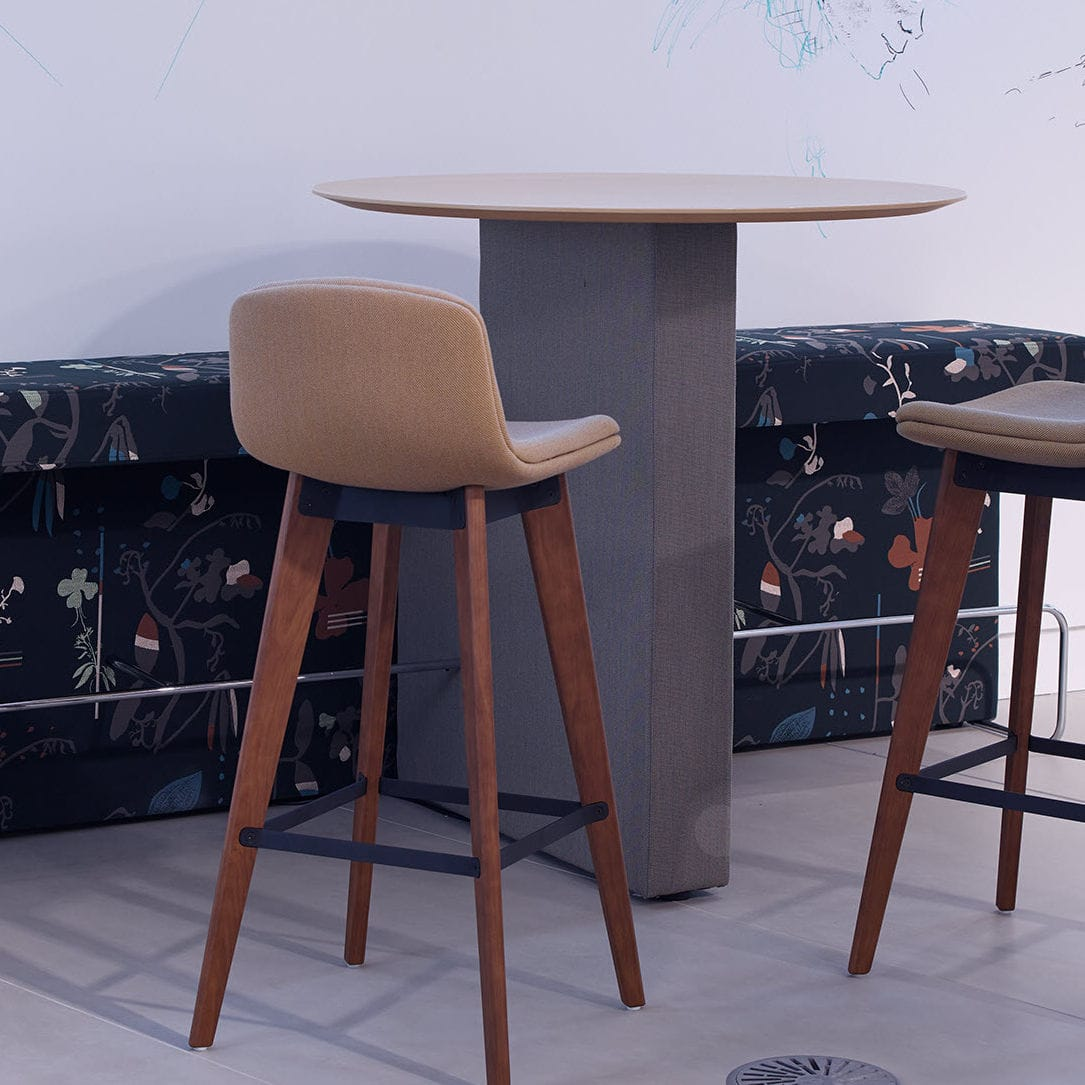 Contemporary High Bar Table Wooden Round Commercial Border