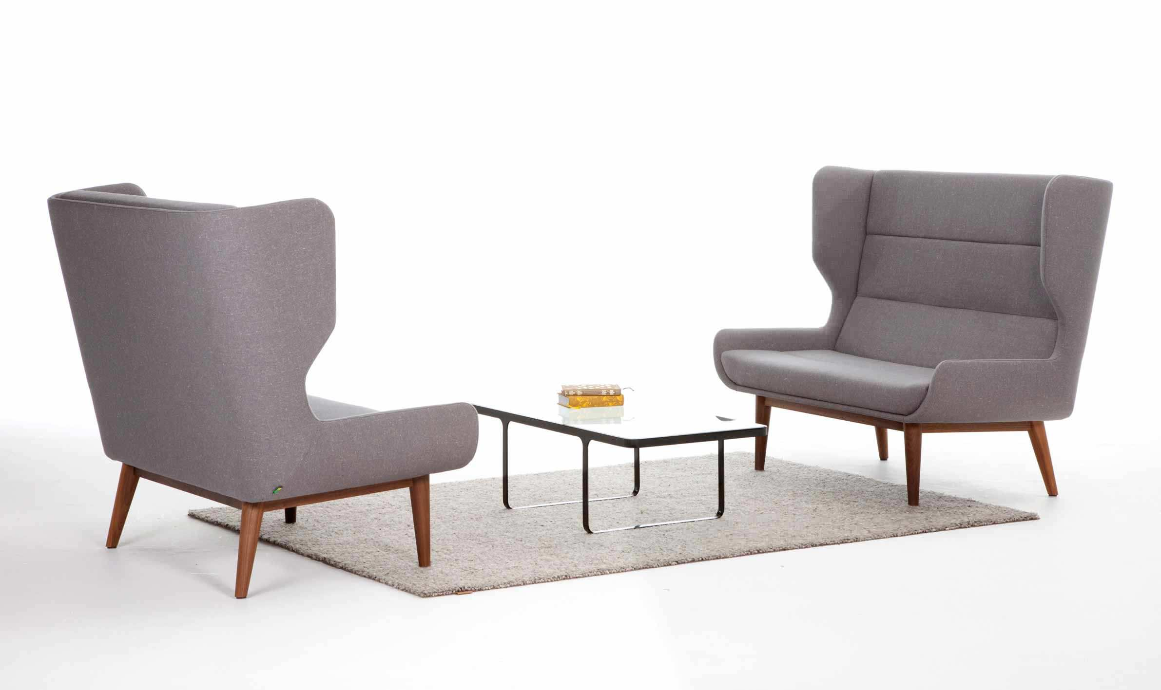 Contemporary sofa / steel / oak / commercial - HUSH - Naughtone