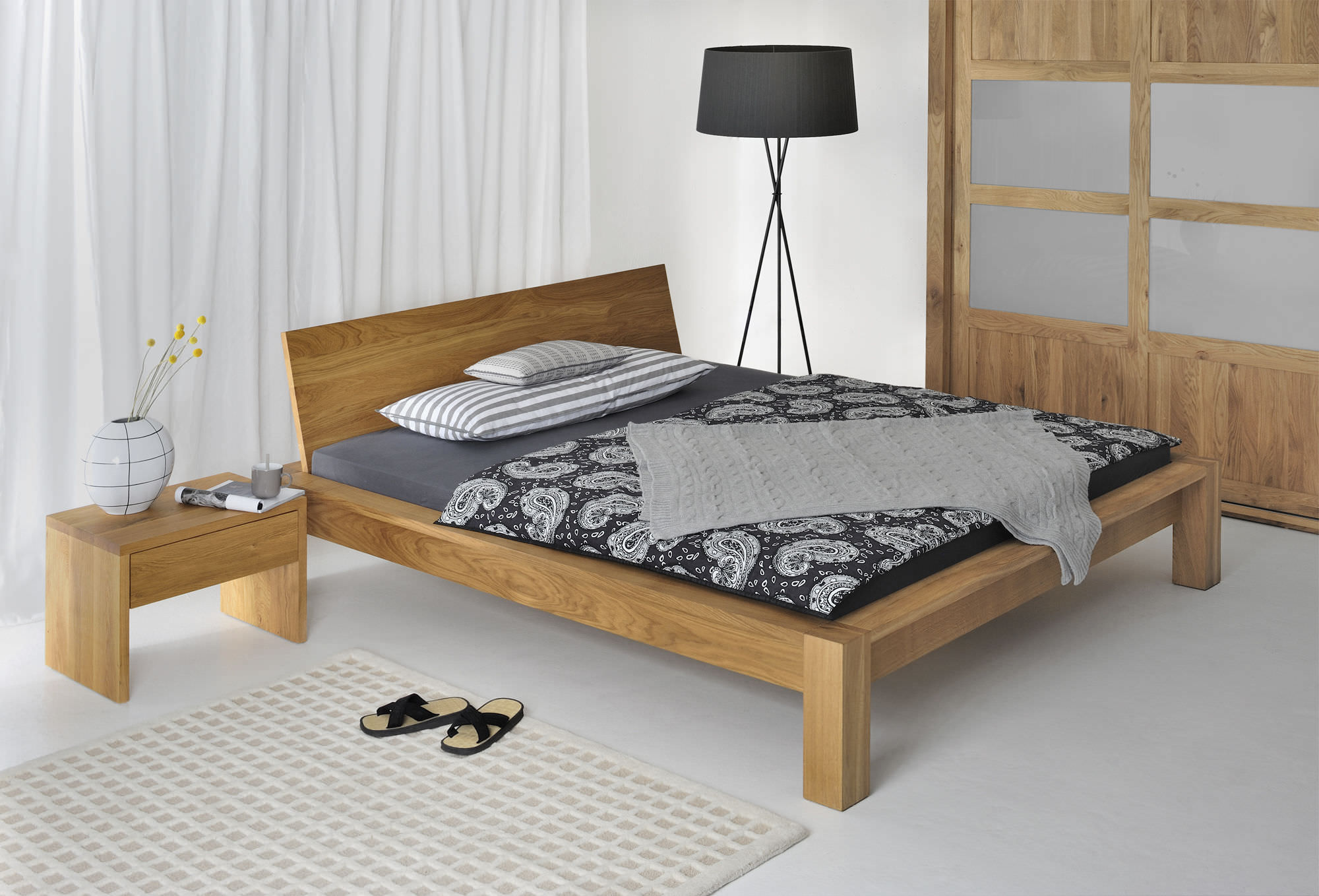 Double bed designs in wood - Double Bed Contemporary Solid Wood With Headboard Taurus