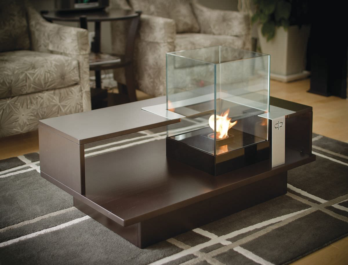 Contemporary Coffee Table Tempered Glass With Bioethanol Burner Level Compact
