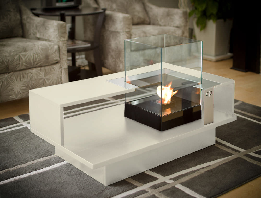 ... Coffee table / contemporary / tempered glass / with bioethanol burner  LEVEL COMPACT Develpro Inc. ... - Coffee Table / Contemporary / Tempered Glass / With Bioethanol